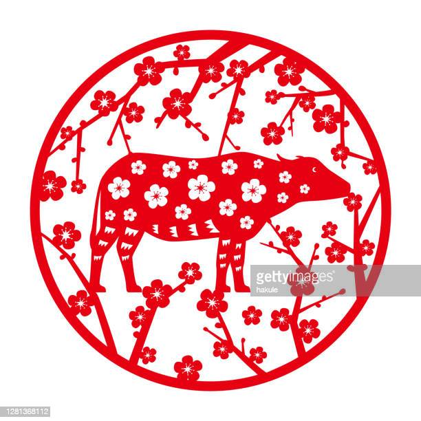 chinese new year of the asian buffalo, paper-cuts for window decoration - wild cattle stock illustrations
