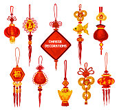 Chinese New Year ornament icon of lantern and coin