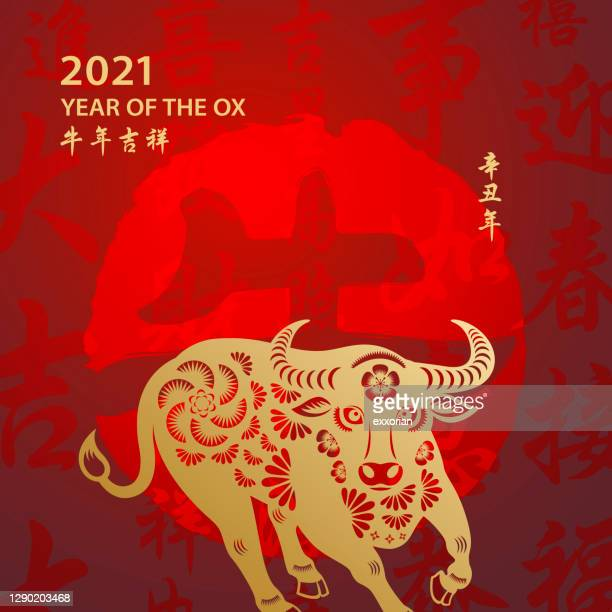 chinese new year ox - year of the ox stock illustrations