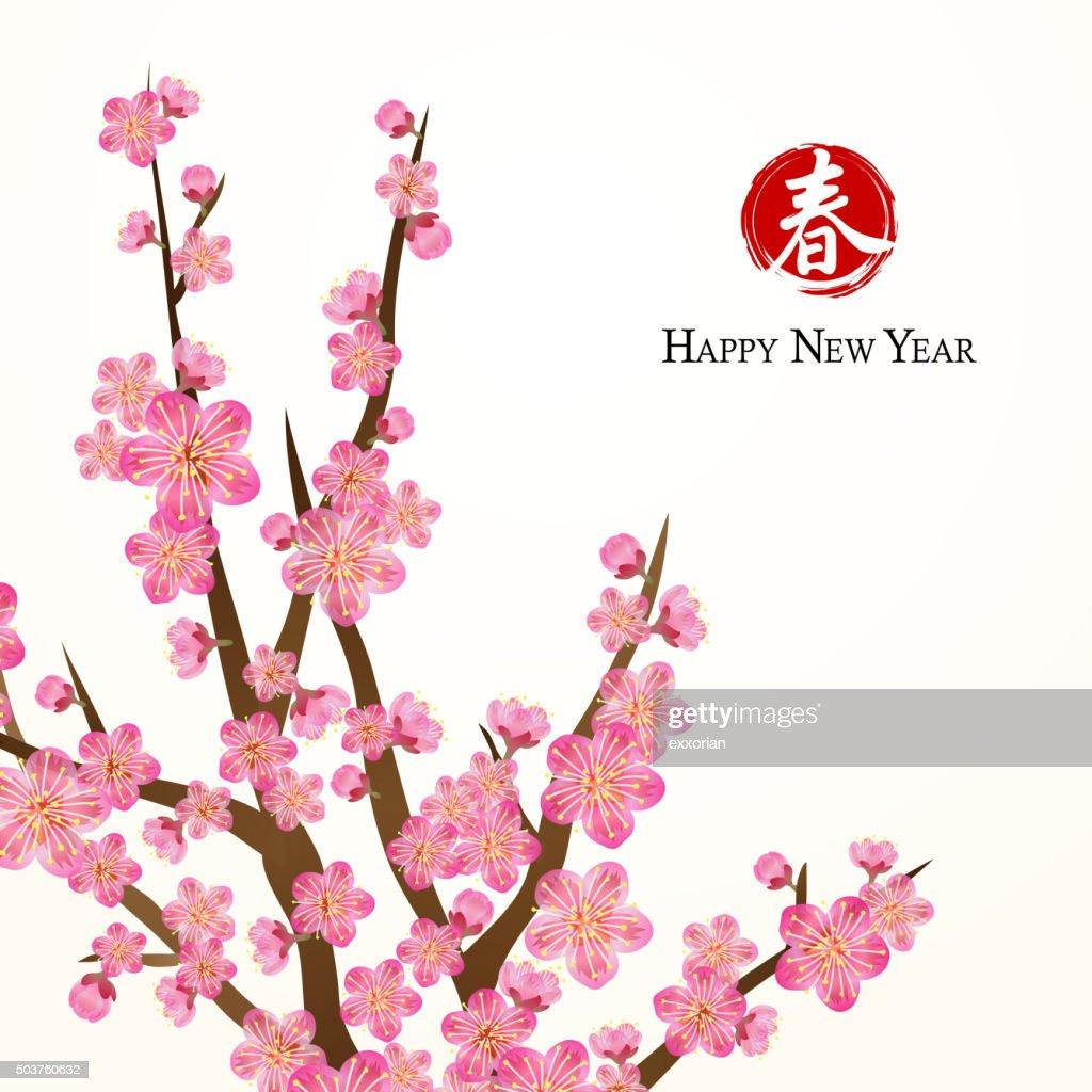 Chinese new year peach flowers