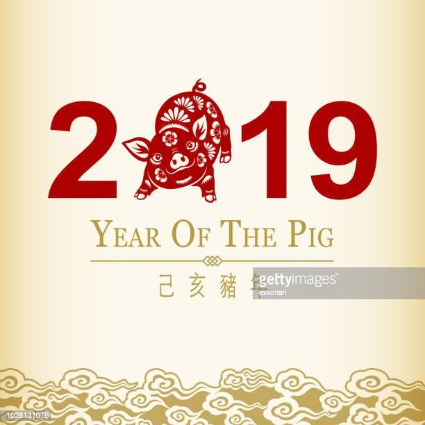 2019 chinese new year pig - chinese new year stock illustrations, clip art, cartoons, & icons