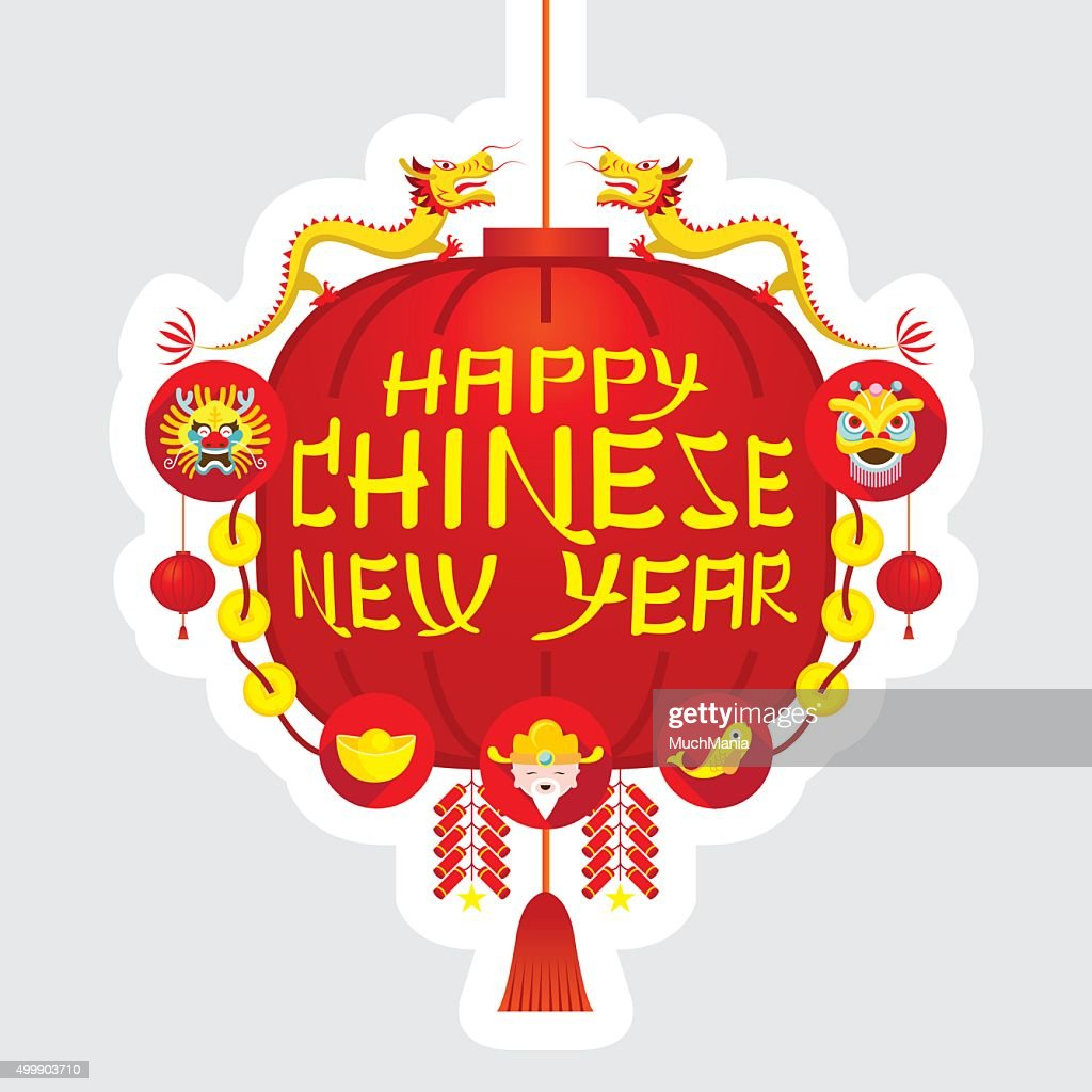 Chinese New Year, Red Lantern Decoration Label
