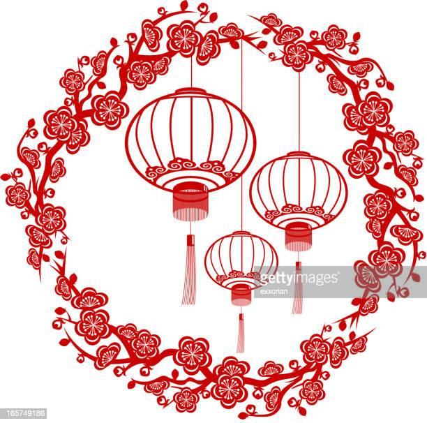 bildbanksillustrationer, clip art samt tecknat material och ikoner med chinese new year red lantern paper-cut art - kinesiska lyktfestivalen