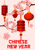 Chinese New Year red paper lantern greeting card