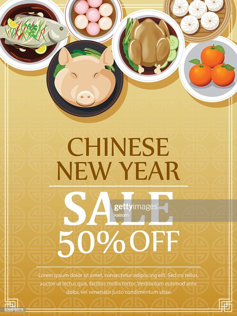 chinese new year sale voucher design template