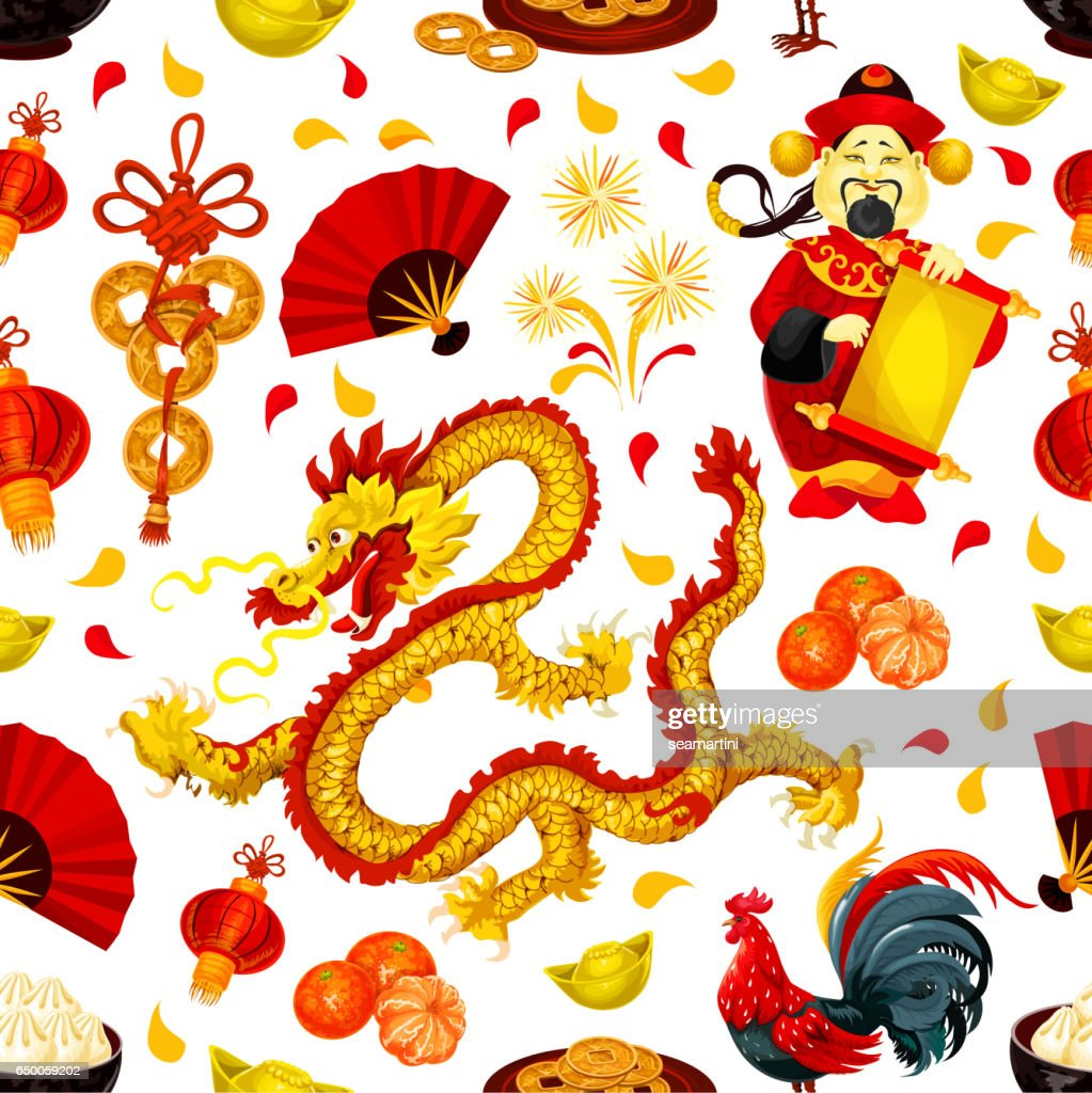 Chinese New Year seamless pattern background