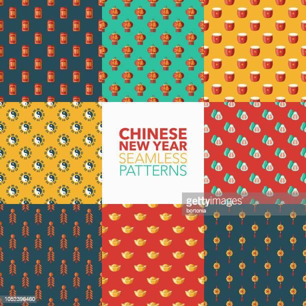 chinese new year seamless pattern set - chinese language stock illustrations