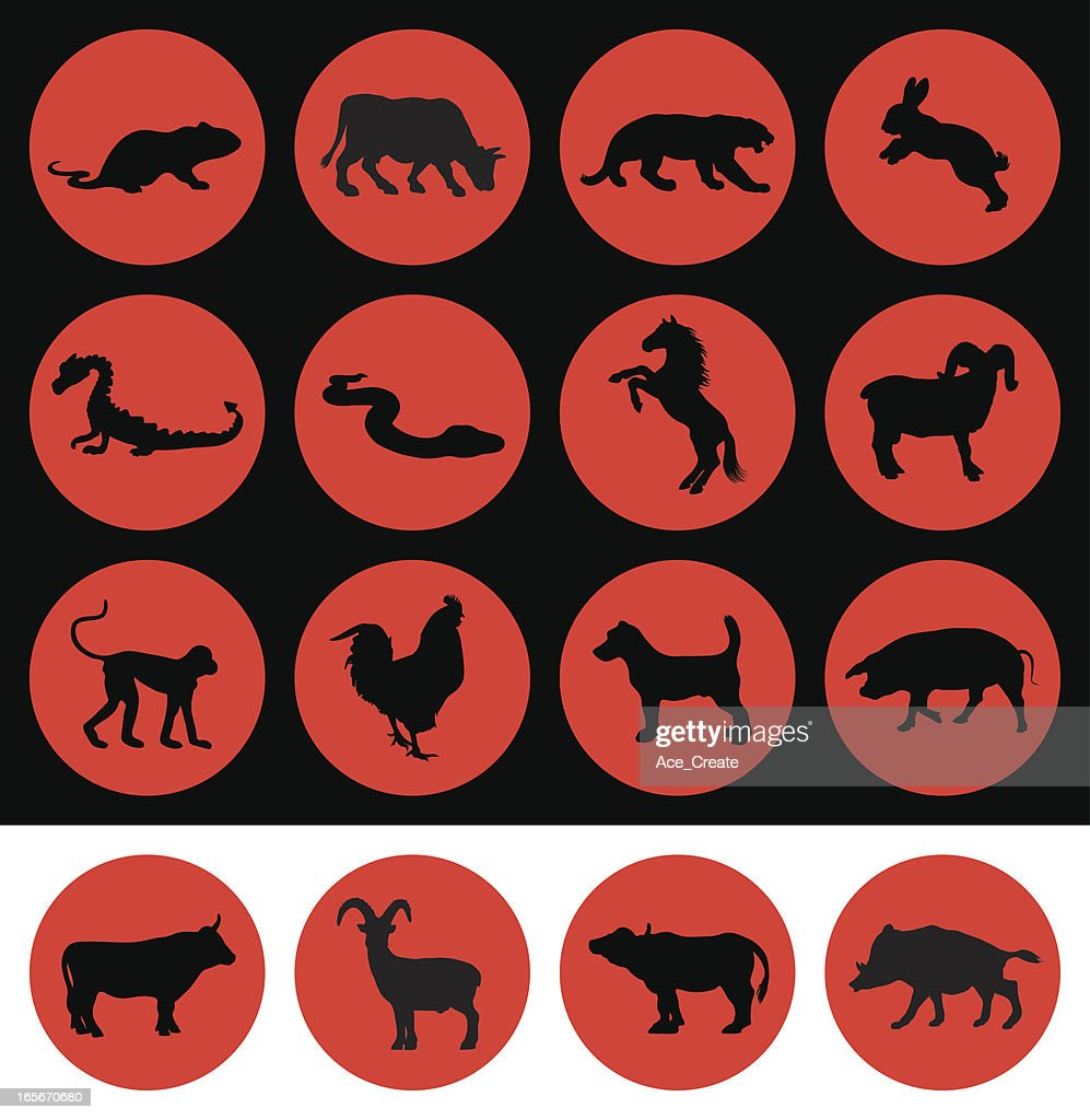 chinese new year signs of the zodiac vector art - Chinese New Year Zodiac