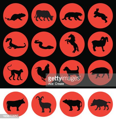 chinese new year signs of the zodiac vector art getty images - Chinese New Year Sign