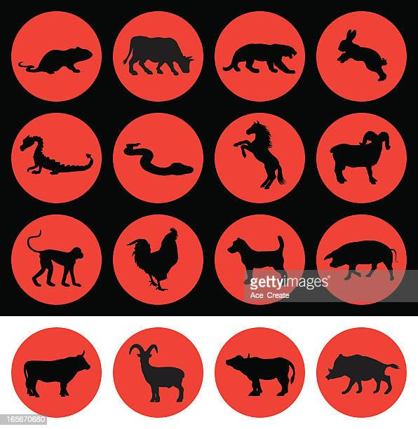 chinese new year signs of the zodiac - wild cattle stock illustrations, clip art, cartoons, & icons