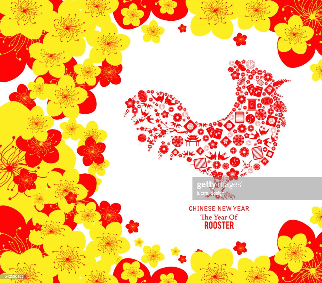 Chinese new year. The year of rooster and cherry blossom