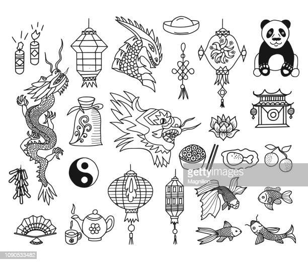 chinese new year vector doodles set - drawing artistic product stock illustrations