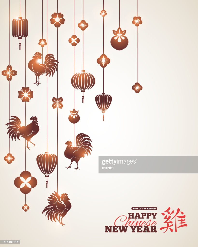 Chinese New Year with Black Hanging Decorations