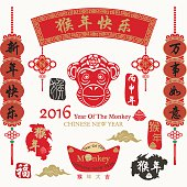 Chinese New Year.Chinese Text Translation:2016 Lunar New Year of Monkey