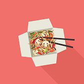 Chinese noodles in box.