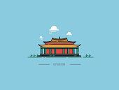 Chinese pagoda vector icon, illustration