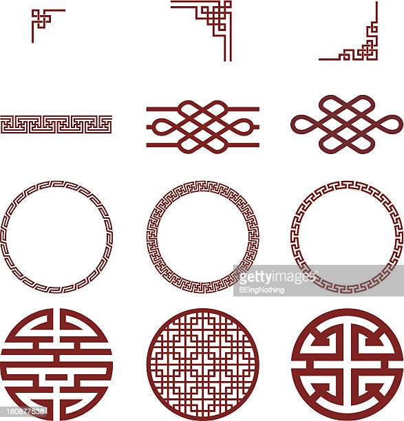 stockillustraties, clipart, cartoons en iconen met chinese paper and traditional pattern - china oost azië