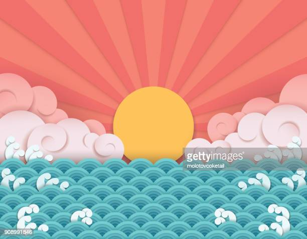 chinese paper art wave background - composite image stock illustrations