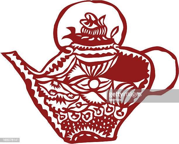 chinese paper cut - a tea pot - pottery stock illustrations, clip art, cartoons, & icons