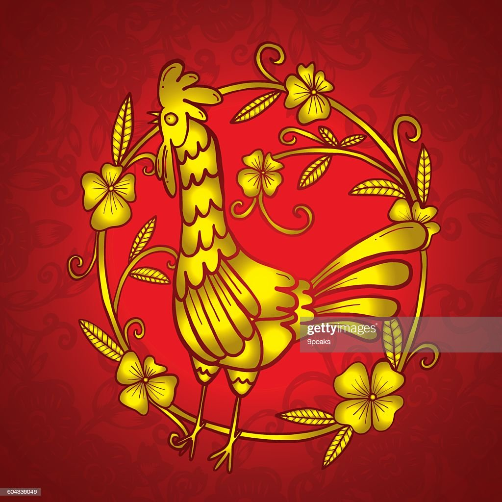 Chinese Paper Cutting Flower And Rooster Paper Cutting Isolated