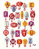 Chinese paper hanging lanterns alphabet