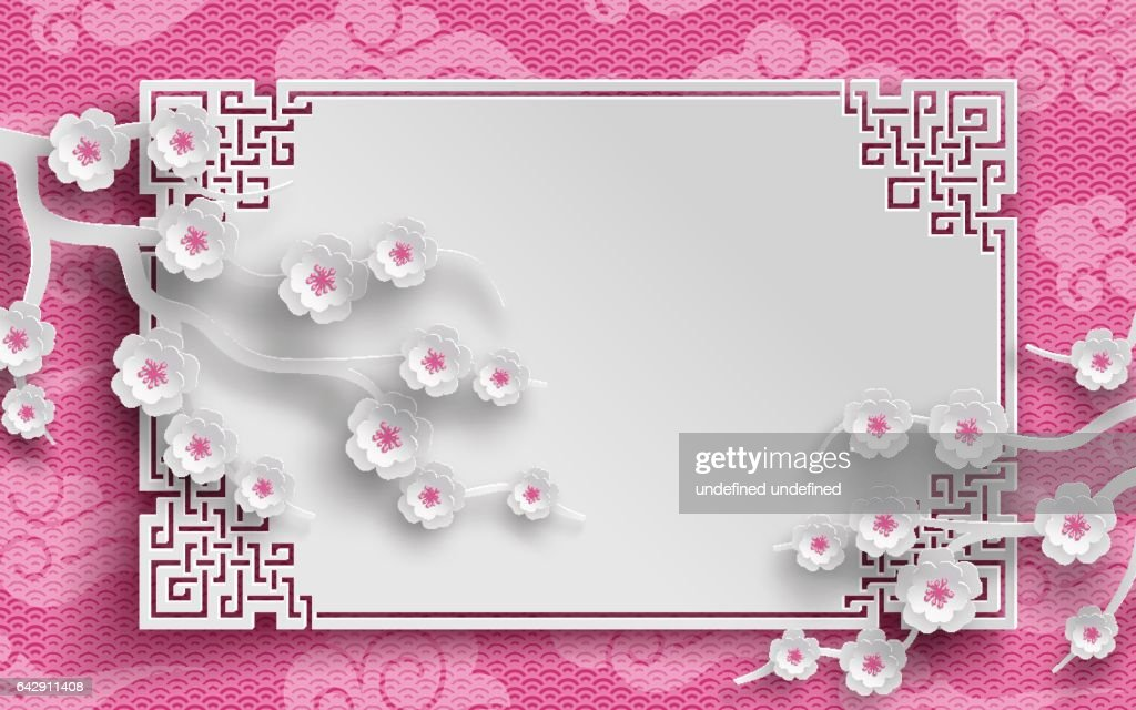 chinese pattern frame with sakura branches and clouds