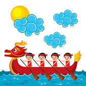 chinese people paddling red dragon boat