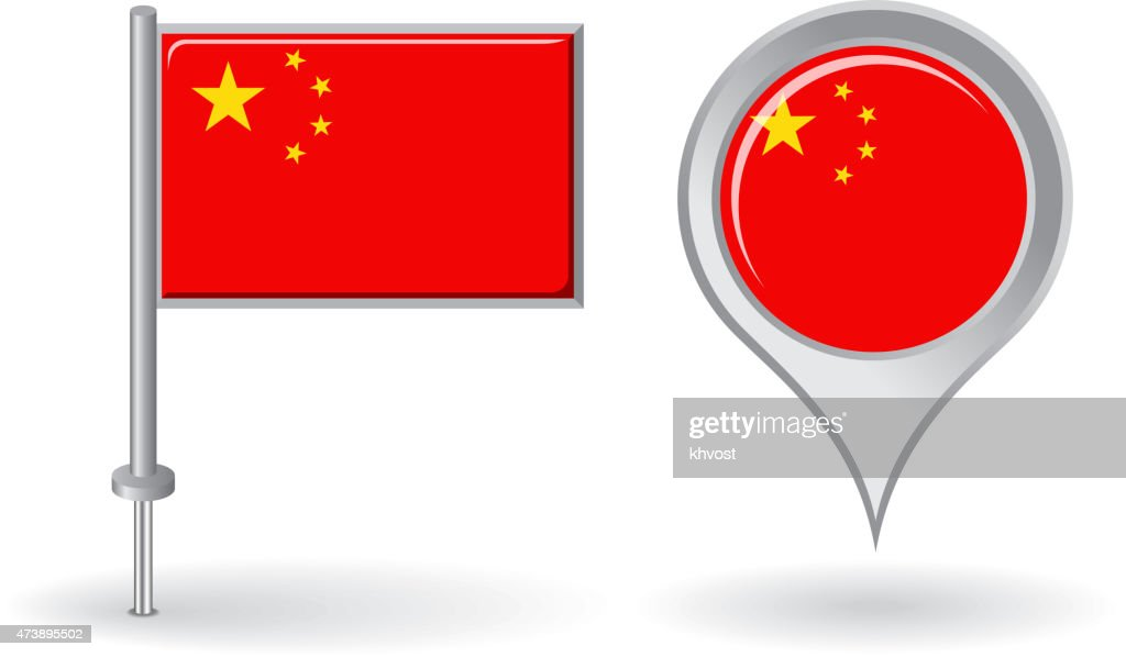 Chinese pin icon and map pointer flag. Vector