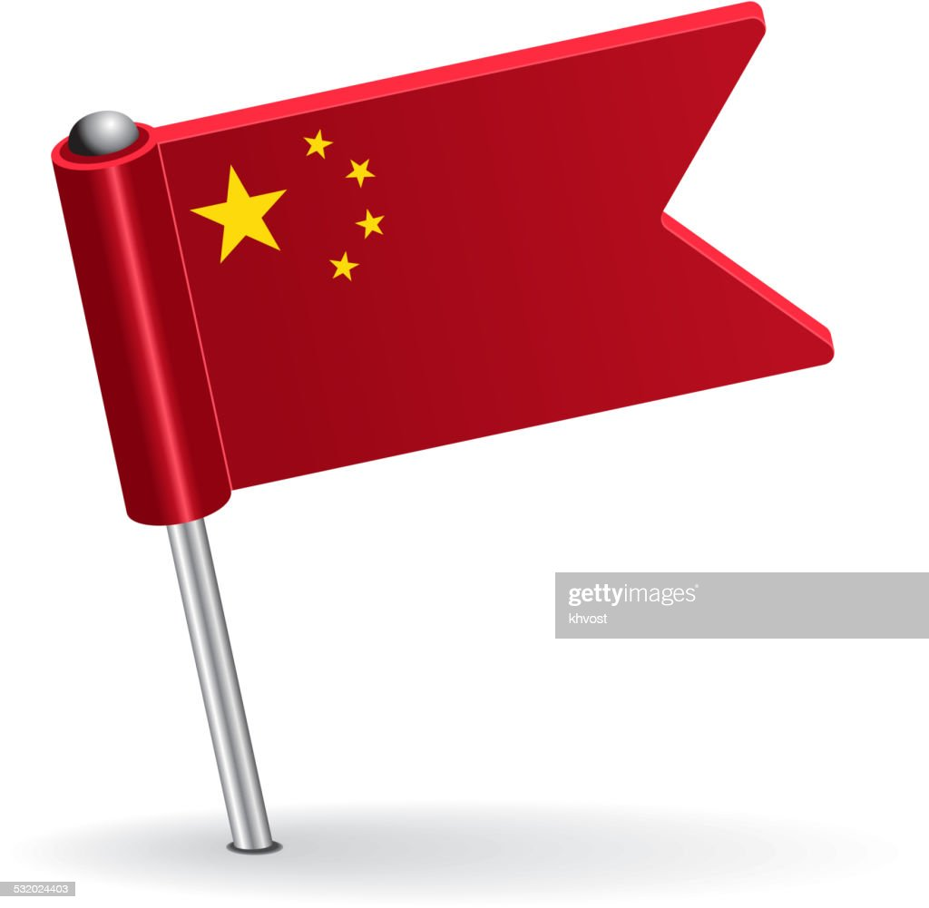 Chinese pin icon flag. Vector illustration