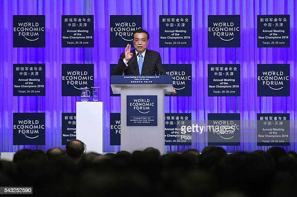 Chinese Premier Li Keqiang gives a speech during the World Economic Forum on June 27 2016 in Tianjin China The annual World Economic Forum New...