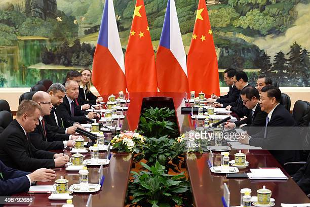 Chinese President Xi Jinping meets with Czech Prime Minister Bohuslav Sobotka during a bilateral meeting after he attended the 4th Meeting of Heads...