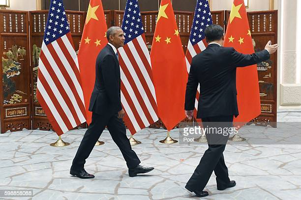 Chinese President Xi Jinping meets with US President Barack Obama at the West Lake State Guest House ahead of G20 Summit on September 3 2016 in...