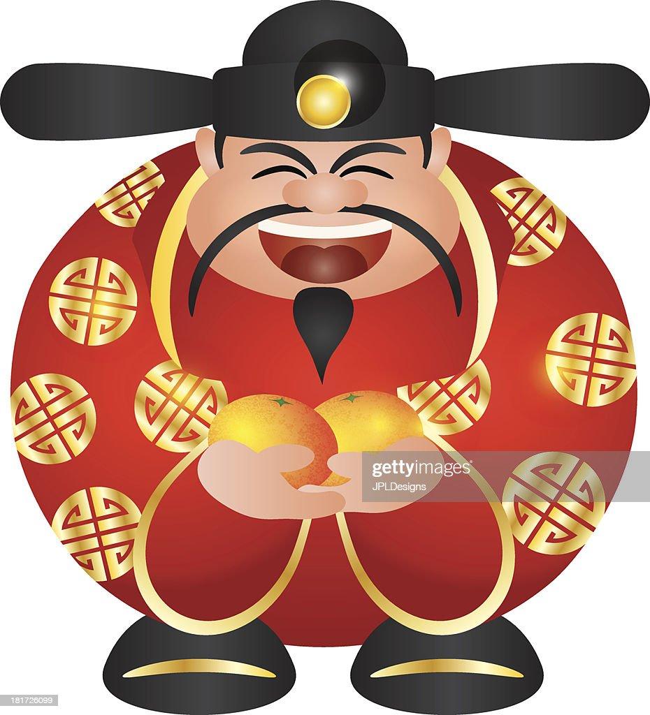 Chinese Prosperity Money God with Oranges