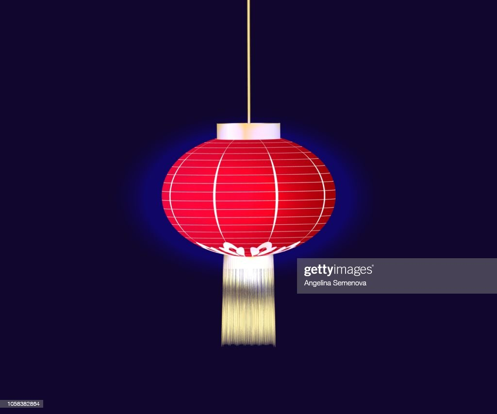 Chinese red lantern isolated on blue background. vector.