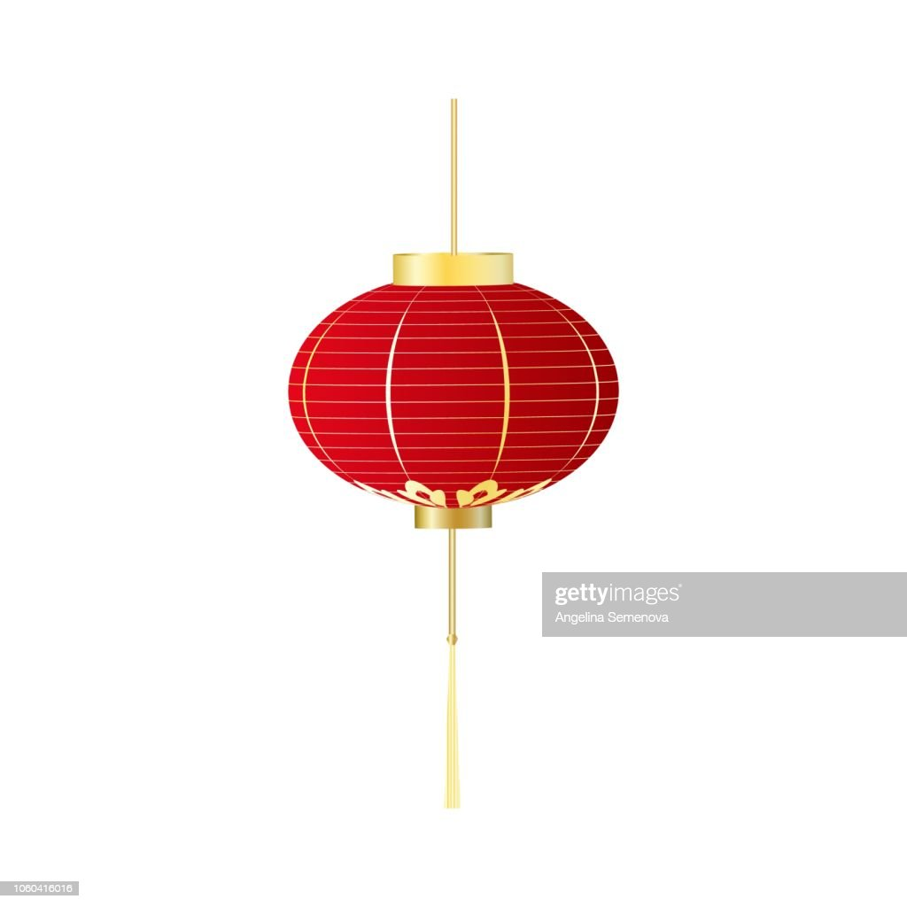 Chinese red lantern isolated on white. vector.