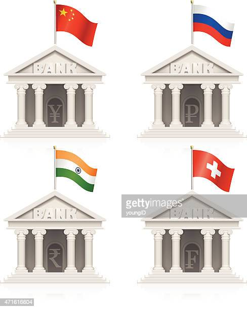 chinese, russian, indian and swiss bank icons - franc sign stock illustrations, clip art, cartoons, & icons