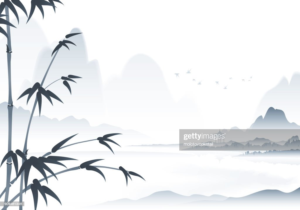 chinese scenery ink painting with bamboo in the foreground