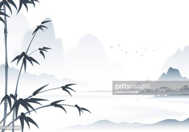 chinese scenery ink painting with bamboo in the foreground - tradition stock illustrations