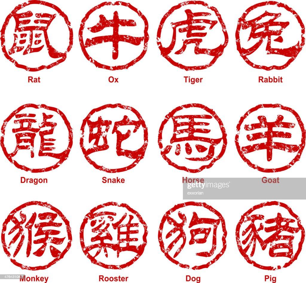 Chinese Script Zodiac Sign Stamp Chop