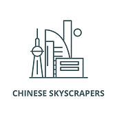 Chinese skyscrapers vector line icon, linear concept, outline sign, symbol