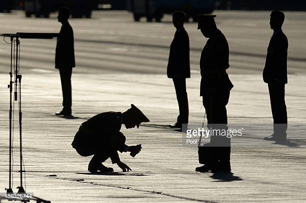 Chinese soldier marks the floor ahead of a military parade at Tiananmen Square to mark the 70th anniversary of the end of World War Two on September...