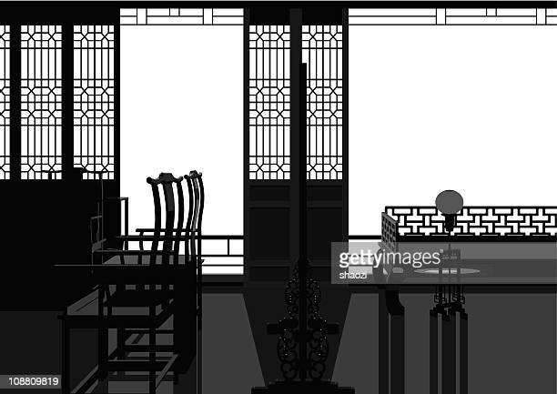 chinese style parlor - classical theater stock illustrations, clip art, cartoons, & icons
