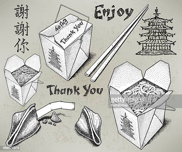 chinese take out food - pagoda stock illustrations, clip art, cartoons, & icons