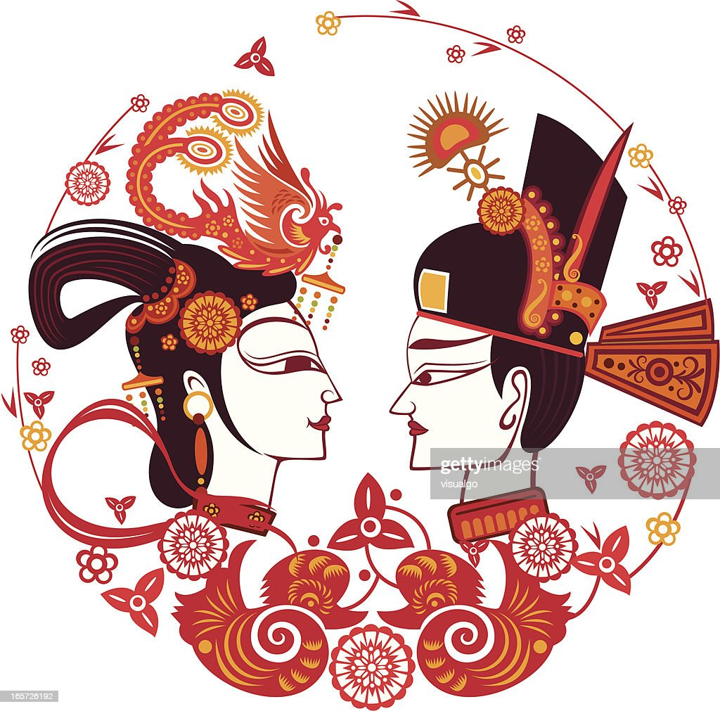 chinese traditional bride and bridegroom : Vector Art