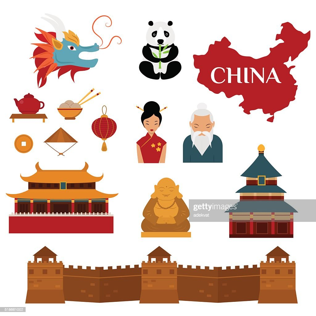 Chinese traditional culture lanterns and objects vector illustration