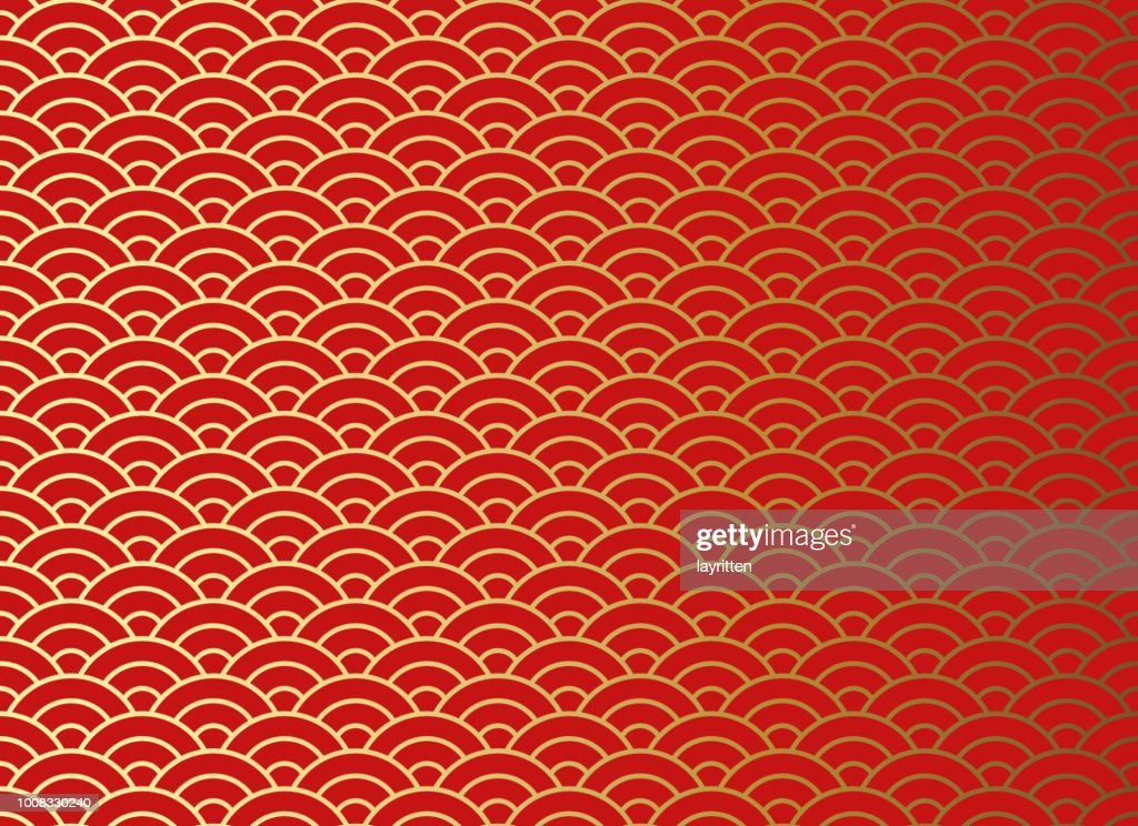 Chinese traditional oriental ornament background, red golden clouds pattern seamless.