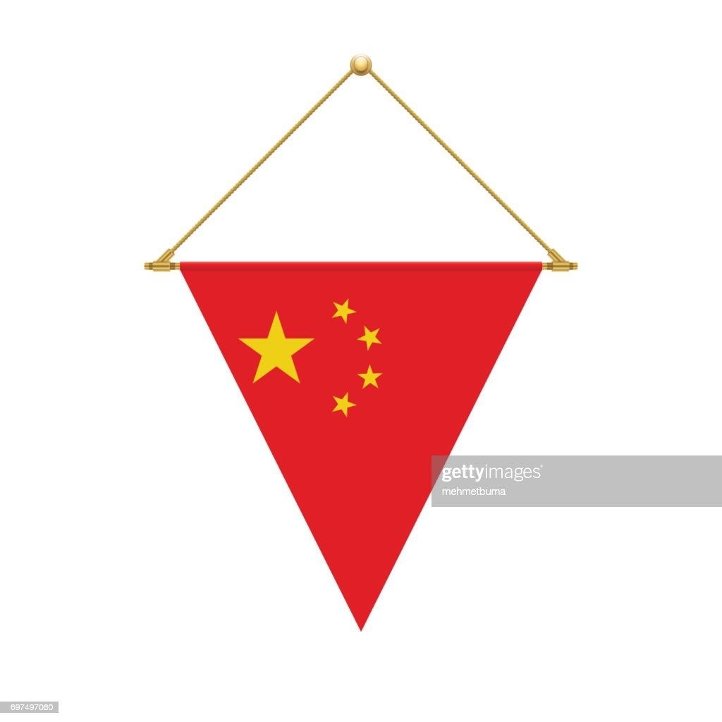 Chinese triangle flag hanging, vector illustration