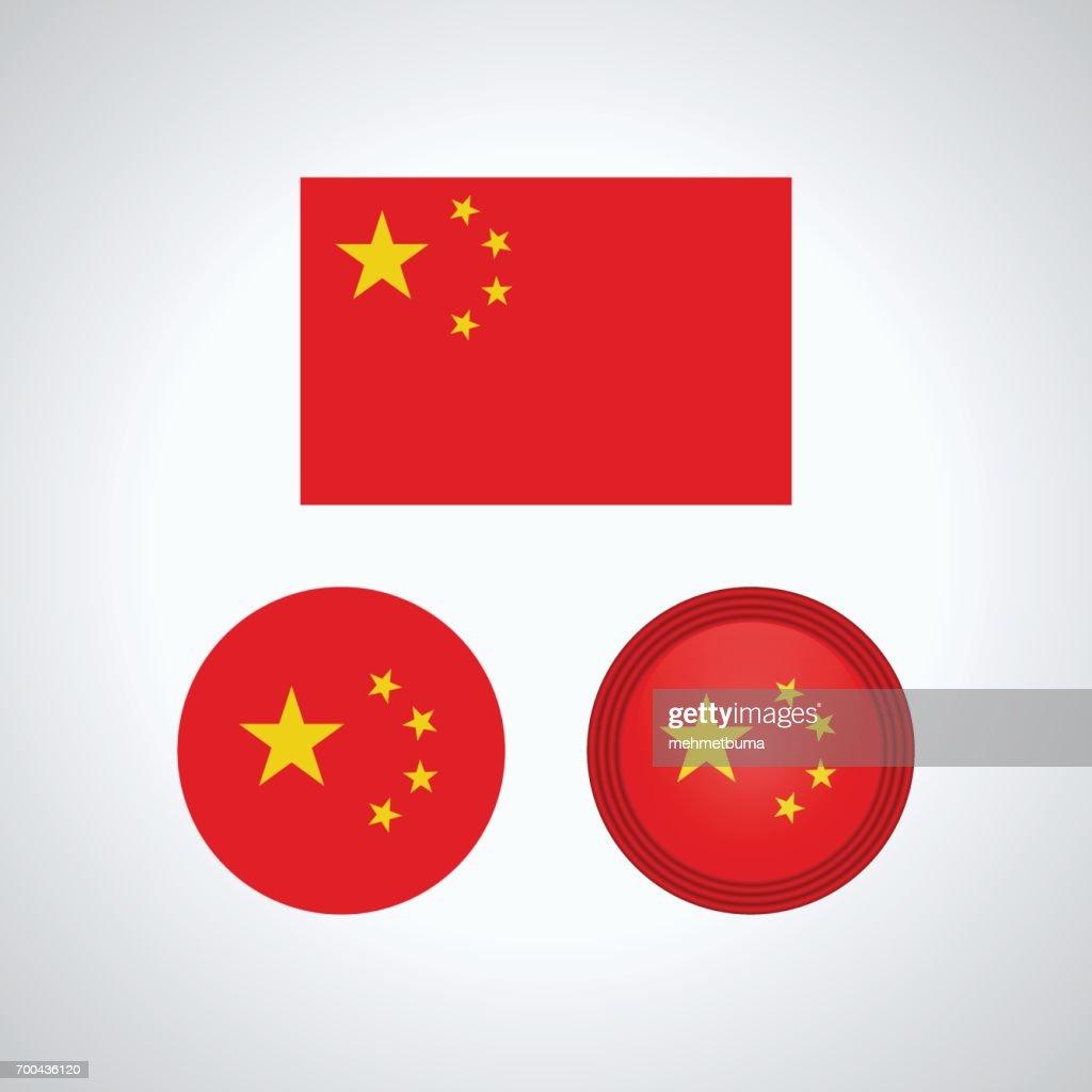 Chinese trio flags, vector illustration