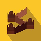 Chinese Wall Icon in flat style