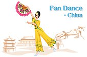 Chinese Woman performing Fan dance of China